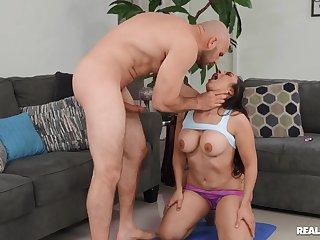 Curvy hispanic MILF Lilly Hall gets banged hard by baldhead dude