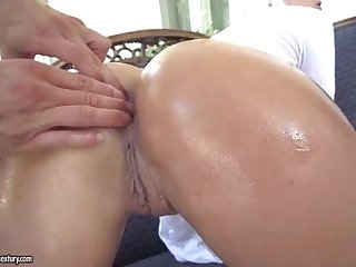 Cecilia Scott is throating a ginormous cock as deep as she can, while her accomplice is squealing