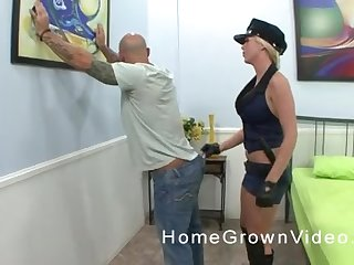 Blonde slut in uniform rides a big hard cock at the office