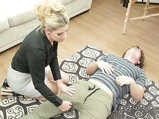 Fabulous blonde MILFie masseuse India Summer enjoys doggy fuck during massage