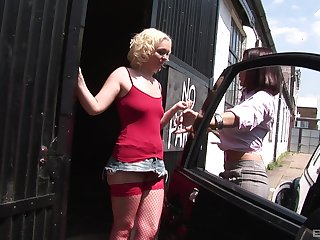 Outdoor lesbian pussy licking and fingering with babes in miniskirts