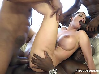 Double anal penetration for Cathy Heaven by big black dicks