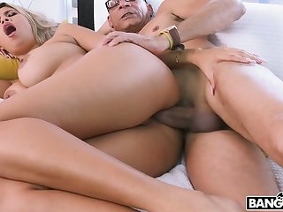 Curly sexy slut Avril Santana lures nerd to ride his strong cock on top