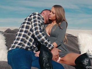 Ardent cowgirl with nice body shape Kendall Kayden is eager to ride dick