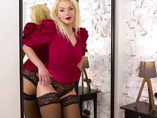 Experienced blonde Zara gets naked and tries to satisfy pussy which is out of control