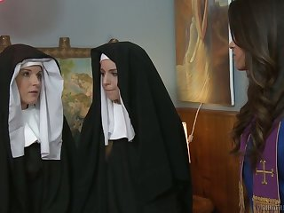 Sinful nuns get nasty and enjoy having first passionate lesbian sex