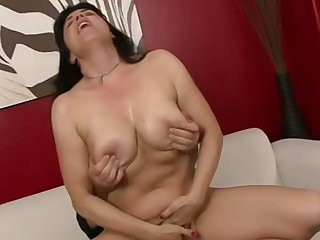 Beautiful busty brunette wife and her older husband are ready to film their first sex tape