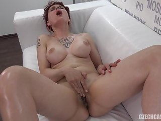 Full-Breasted Girl Takes Off Clothes At Casting - striptease