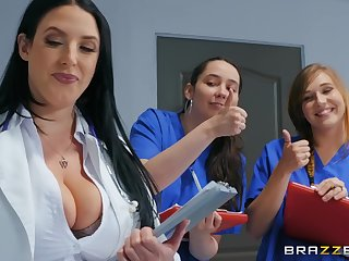 Angela White adores doggy style after a blowjob with her patient